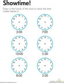telling time showtime worksheet education com