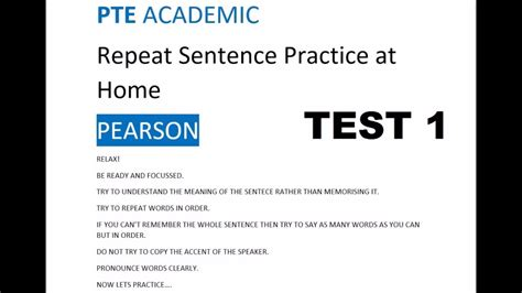 sentence pattern test exercises pte repeat sentence practice youtube