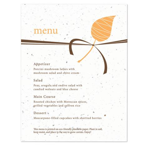 make a menu card embrace plantable menu card plantable seed wedding menu