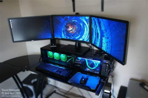 custom pc desk combo ditches glass metal for wood