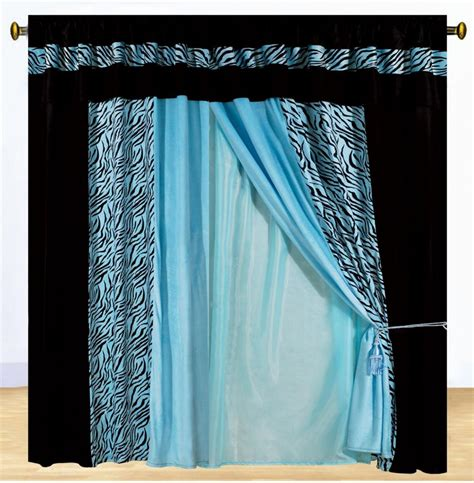 Black And Blue Curtains New 8pc Blue Zebra Animal Print Luxury Fauxfur Zebra