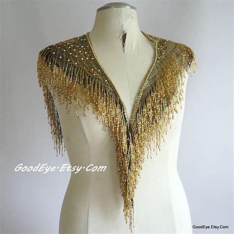 beaded shawl vintage fringed beaded shawl collar showgirl gold glass