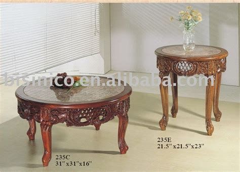 classical high quality wooden coffee table with marble on