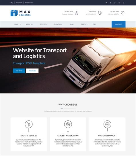 10 Latest Premium Html5 Website Templates August 2015 Designazure Com Logistics Website Template