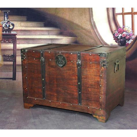 wooden trunk vintiquewise old fashioned wood storage trunk wooden