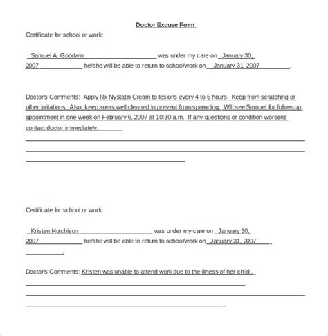 template for doctors excuse note 22 doctors note templates free sle exle format