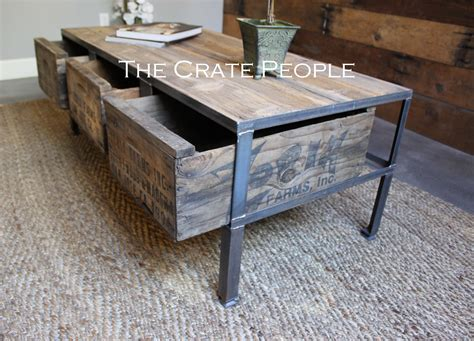 3 Zoria Crate Industrial Coffee Table The Crate People Crate Coffee Table For Sale