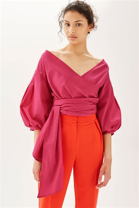 The Puff Sleeve by Puff Sleeve Poplin Wrap Top Topshop
