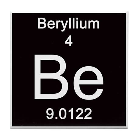 periodic table beryllium tile coaster by science lady
