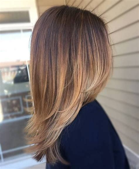 balayage medium length hair pictures to pin on pinterest straight medium length layered dark hair with pale blonde