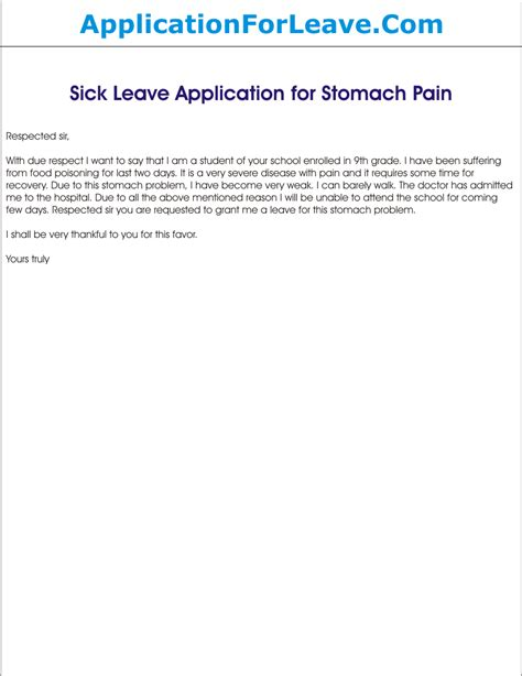 Excuse Letter Of Stomach Ache Leave Application For Stomach For School