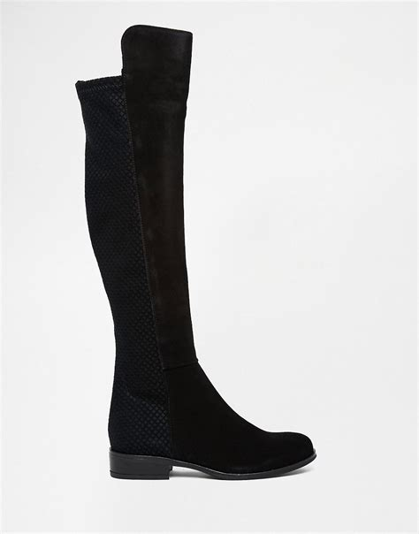 dune dune trish black suede flat the knee boots at asos