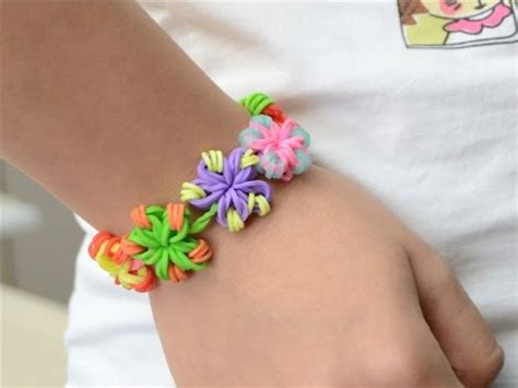 Super Easy DIY Rubber Band Jewelry   Making Candy Color Flower Loom Bracelets   YouTube