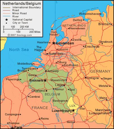 netherlands map and satellite image