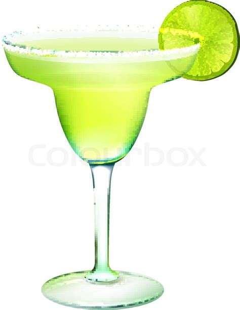 margarita illustration margarita cocktail in glass with lime slice