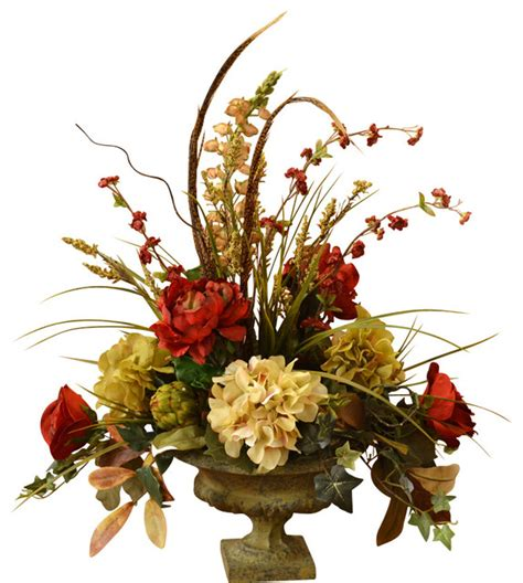 Decorative Floral Arrangements Home by Peony And Hydrangea Silk Flower Arrangement With Feathers