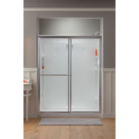 Slide Shower Door Sterling Deluxe 59 3 8 In X 70 In Framed Sliding Shower Door In Nickel With Templar Glass