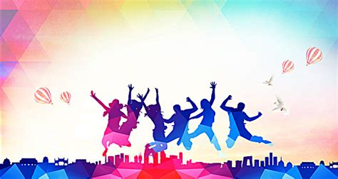 background design for youth colorful background youth jumps bright youth jump