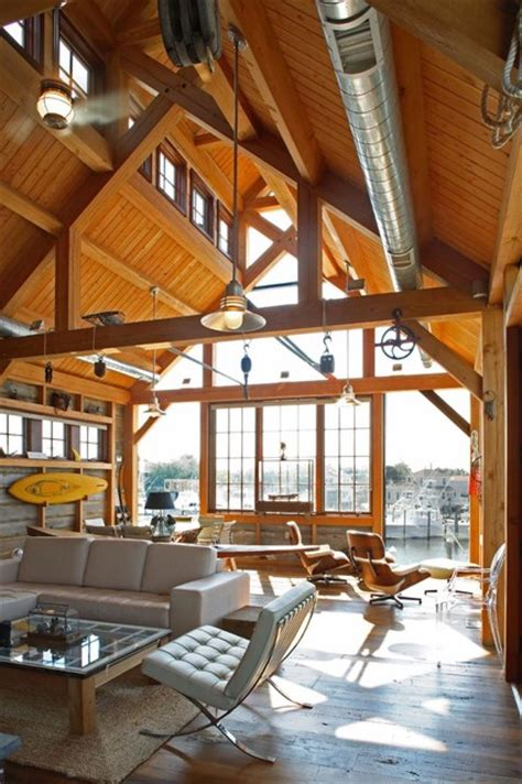 boat house rustic living room philadelphia  hugh
