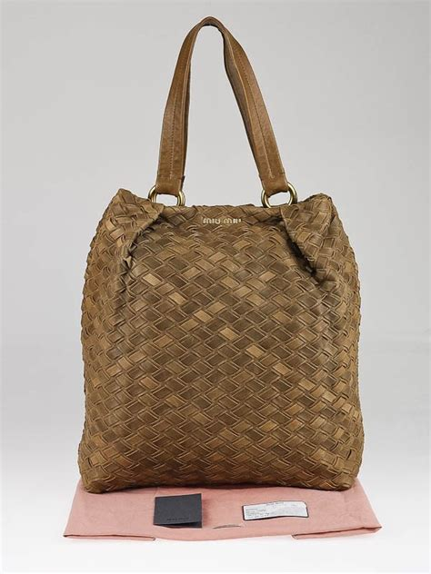 Miu Miu Woven Leather Tote by Miu Miu Fango Intreccio Woven Leather Shopping Tote Bag