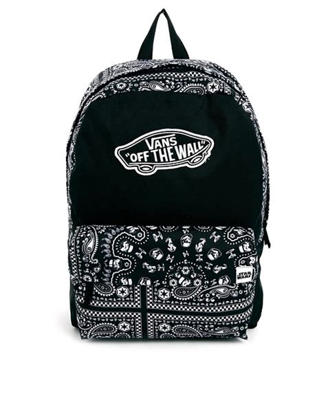 Vans Authentic Bandana Pack Black White vans vans x wars black bandana print backpack