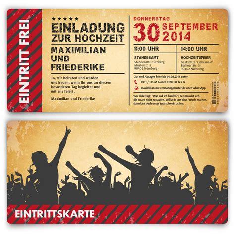 Hochzeitseinladung Festival by Einladungskarten Zur Hochzeit Vintage Ticket