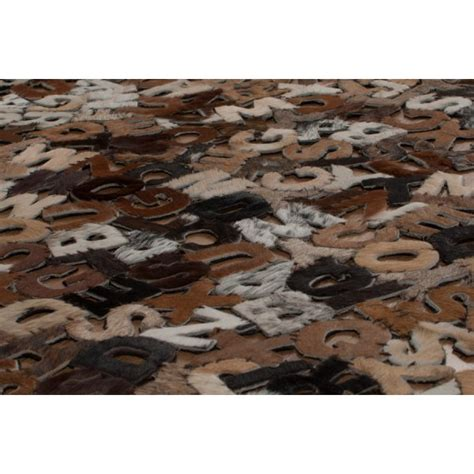 real rugs real rug alphabet e16 rectangular cowhide rug leader