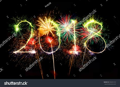 new year 2018 celebration duration happy new year 2018 colorful sparkle stock photo 503201413