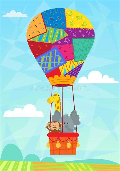 Animal in hot air balloon stock vector image 44285133
