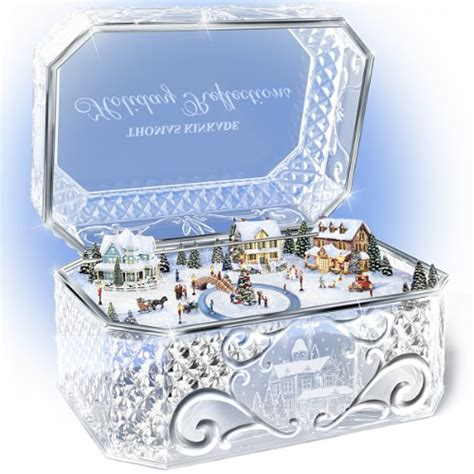 bradford exchange home decor thomas kinkade holiday reflections crystal music box by