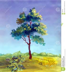 watercolor painting of a tree stock images image 15897024
