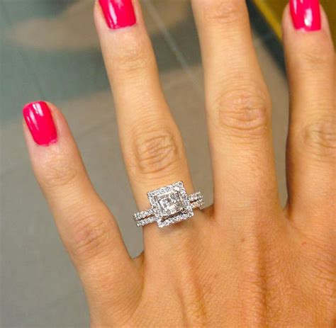 princess cut with square halo and thin bands ahh