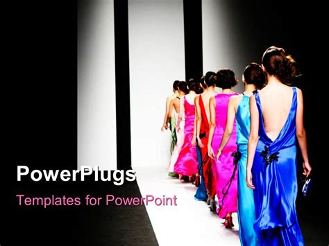 Powerpoint Template Models On The Catwalk During A Fashion Show With Black Color 11874 Show Powerpoint Template Free