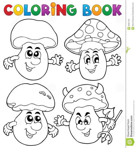 libro animalium colouring book welcome fungo del libro da colorare illustrazione vettoriale illustrazione di forma fungo 29357720