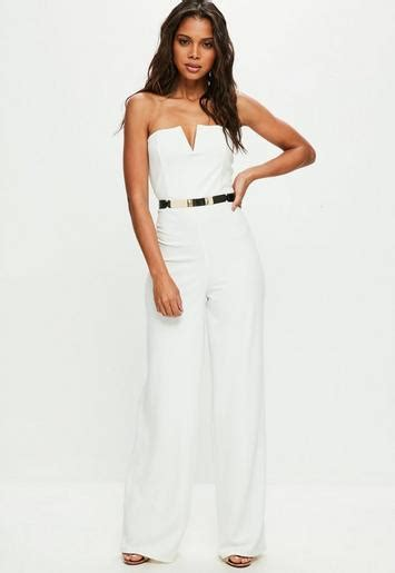 white bandeau wide leg jumpsuit missguided