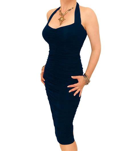 navy blue ruched halter neck dress
