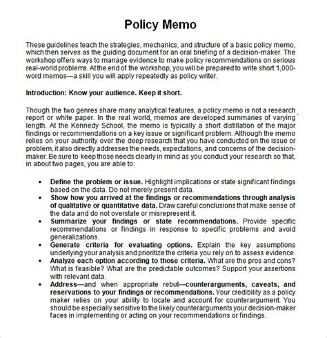 policy memo example 12 templates free sample unusual partypix me