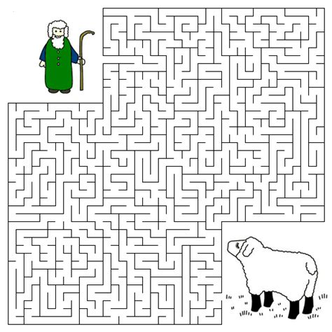 printable religious mazes lyrics chords and more 187 good shepherd and the lost sheep