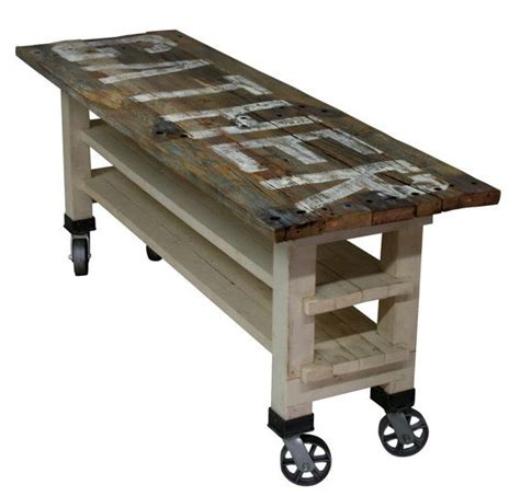 kitchen island table on wheels gather reclaimed wood lettered kitchen island or counter