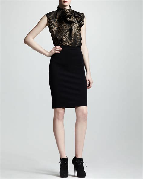 lanvin high waist back zip pencil skirt black in black lyst