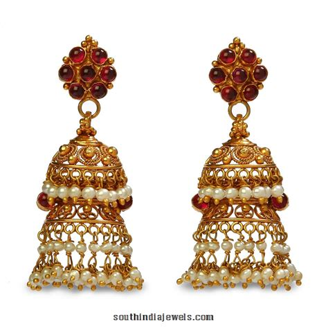 jhumka design images 22k gold jhumka earrings from bhima jewels south india