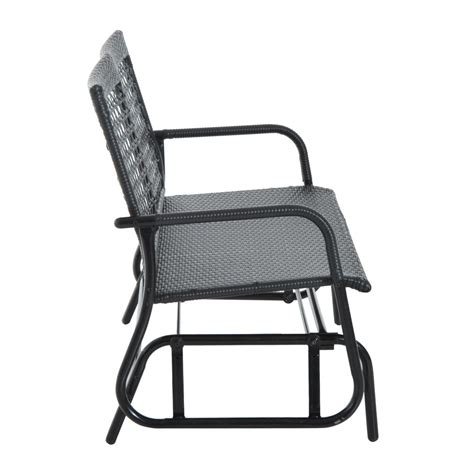black wicker bench outsunny 47 quot steel rattan outdoor patio double bench