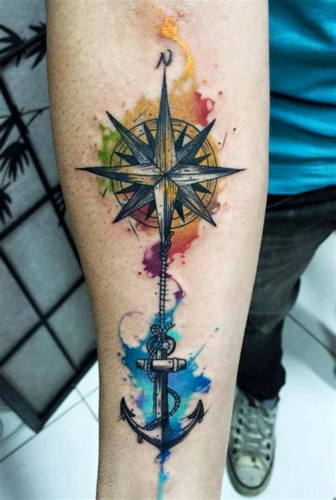 watercolor compass tattoo compass watercolor