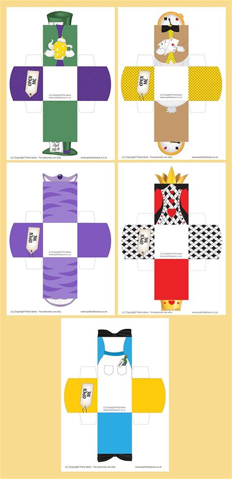 printable krus cards printable templates alice in wonderland character boxes