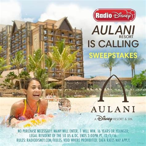 Moana Aulani Sweepstakes - radio disney sweepstakes aulani is calling