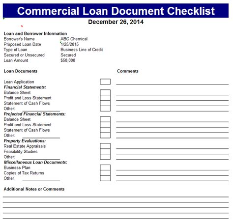 Commercial Loan Document Checklist Loan Package Template