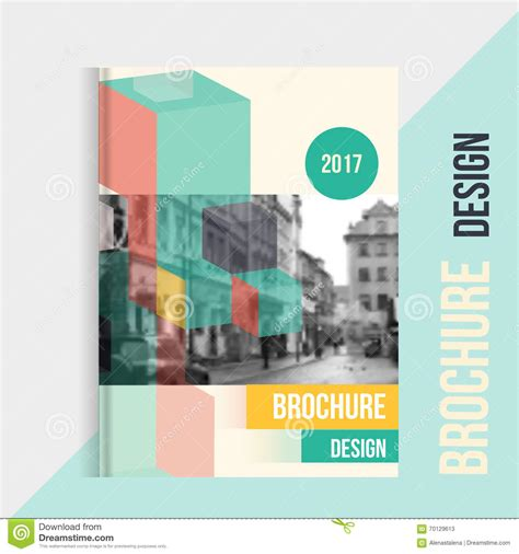 design cover landscape vector brochure cover template with blured city landscape