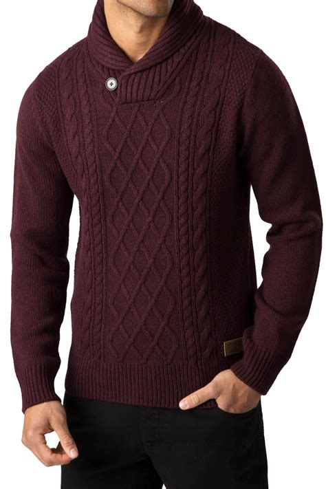 Collar Knitted Sweater threadbare mens jumper perth new pullover shawl neck chunky cable knit sweater ebay