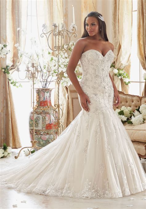 Plus Size Wedding Dress with Crystals on Tulle   Style