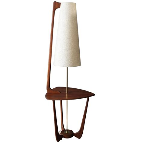 midcentury modern lighting mid century modern walnut floor l with side table at